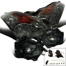 Fit 2007-2009 Nissan Altima 4Dr Chrome Smoke Headlights+Smoke Lens Fog Lights