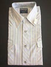 Usa Vintage Wrangler Mens Pearl Snap Light Blue Shirt 15 M Cowboy Cut X-Lg Tail