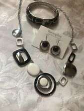 White Black Necklace, Earrings & Bracelet Lia Sophia Set Lot Of 3 Silver