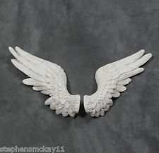 Large Pair of Decorative Antique White Angel Wings Wall Hangings 58cm Wide Each