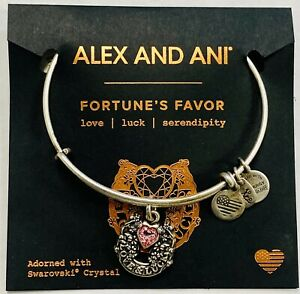 Alex and Ani FORTUNE'S FAVOR Pink Crystal Love & Luck Charm Bracelet NWT