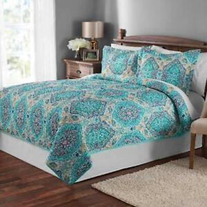 Full Queen Quilt Bedspread Bed Microfiber Washable Home Decor Cover