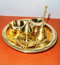 Hindu Puja Thali Brass Pooja Aarti  Plate Prayer Bell Bowl Diya incense holder