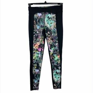 CYNTHIA ROWLEY Black & Neon Swirls Leggings Women's Activewear EXTRA SMALL