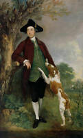 Oil painting male portrait count with his dog hound in landscape Hand painted