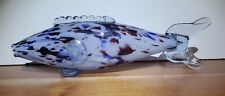 Vintage Large 11 IN LONG Colorful Murano Style Hand Blown Glass Fish
