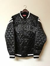 Supreme Satin Quilted Varsity Jacket Size L Black Bomber Large SS'17