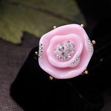 Anello Dorato Grandi Fiore Rosa Cristallo Retrò Vintage Originale Regalo 53 Z1