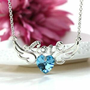 Elegant Women'S Jewelry Crystal Blue Angel Wings Charm Silver Pendant Necklace