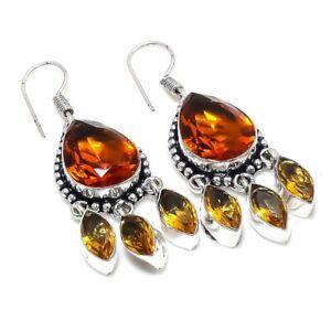 "Citrine Gemstone Handmade 925 Sterling Silver Jewelry Earring 1.97 "" L369"