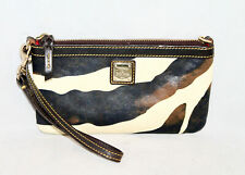 DOONEY & BOURKE Wild Zebra Brown Cream Leather Wristlet Purse