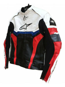 Handmade Men White and Black Motorbike Leather Jacket