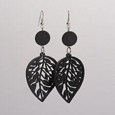 Trendy Blatt Holz Ohrringe , schwarz Ohrschmuck Ohrhänger