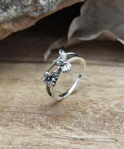 Sterling Silver Ring Hummingbird Handmade Solid Floral 925 Adjustable Ring Gift