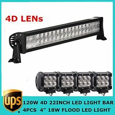 "120W 22"" 4D LENS SPOT FLOOD COMBO EPISTAR LED LIGHT BAR+4PCS 18W 4"" FLOOD LIGHT"