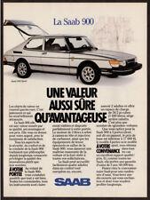 1986 SAAB 900 Sport Vintage Original Print AD - White car photo French Canada