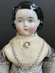 """Rare Antique German 17"""" Brush Strokes Exposed Ears China Head Child Girl Doll"""