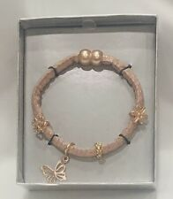Fabric Wrap Butterfly Bracelet With Magnetic Closure~Pink/Rose Gold~NWT