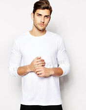 Mens Plain White Long Sleeve T-shirt Soft Feel Slim Cotton Blank Top Tee T Pa