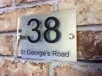 MODERN HOUSE SIGN PLAQUE DOOR NUMBER NAME GLASS  EFFECT ALUMINIUM PERSONALISED
