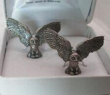 Owl Cufflinks in Fine English Pewter, wings spread
