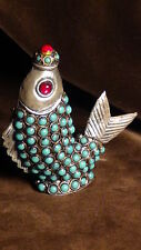 OLD TIBETIAN SILVER TURQUISE SNUFF BOTTLE FISH SHAPE WITH RED PEKING GLASS EYES