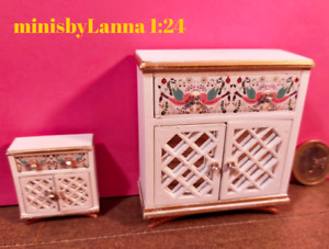 1:24 Dollhouse shabby-chic cupboard lattice spring collection