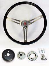 "64 65 66 Oldsmobile 442 F85 Cutlass 98 Black Wood Steering Wheel High Gloss 15"""