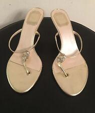 Christian Dior Metallic Gold Embellished Logo Heel Sandals Size Euro 39