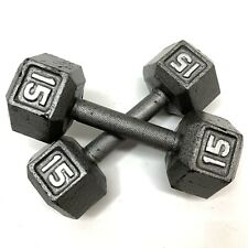 Pair 15lbs Hex Style Dumbbells Cast Iron Free Weights Gym 30lbs Total SEE PHOTOS