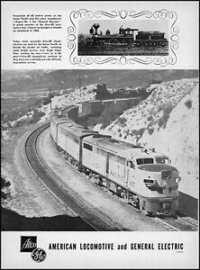 1952 Union Pacific Railroad American Locomotive & GE retro photo print ad S8