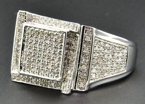 Diamond Pink Ring Sterling Silver White Finish Mens Round Cut Pave Band 0.80 Ct.