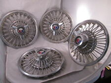 "Vintage 1960s Ford Spoke Hubcaps Shield Red White & Blue 14/15"" Mustang Galaxie"