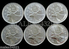 🇨🇦​CANADA 1989 TO 1996 CARIBOU 25 CENTS SET UNC (6 COINS) (NO 1991 0R 1992)