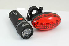 2pc 5 LED Bike Tourch Light Set Waterproof Wide Beam Front & Rear Bag Jacket