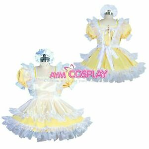 Yellow satin sissy maid dress Tailor-made