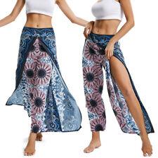 Women Yoga Harem Pants Thai Flowy Baggy Boho Gypsy Hippie Slit Beach Trousers G1