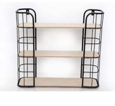 Wood Wooden Base Wall Mounted Shelf 3 Section Storage Rack Display Shelving Unit