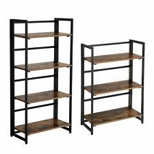 VASAGLE Bücherregal Standregal Haushaltsregal Lagerregal 3/4 Ablagen Metall Holz