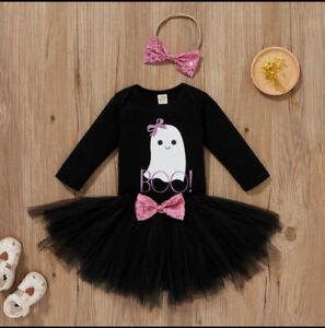 NEW Baby Girls Halloween Ghost Bodysuit Tutu Skirt Headband Outfit Set