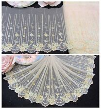 """7""""*1Y Embroidered Tulle Lace Trim~Beige+Light Yellow+Light Green~Summer Garden~"""