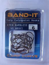 Band-it Carp curve point hooks eyed barbless size 6 pack of 15