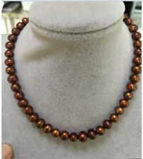 Beautiful 8-9MM Brown Akoya Cultured Pearl Necklace 18inch