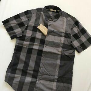 Burberry Men's Woven Check Charcoal Ss Tonal Check Shirt NWT 3846377 Size M