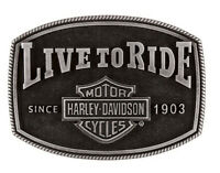 Harley-Davidson Men's Gunmetal Bar & Shield Live To Ride Belt Buckle HDMBU11702