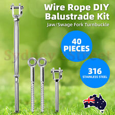 Stainless Steel Wire Rope DIY Balustrade Kit Jaw/Swage Fork Turnbuckle 40PCS OZ