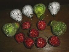Vintage 13 Faux Fruit Sugar Beaded Glazed Pears Strawberries Lot PO7