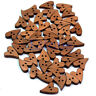 100 PCS Heart Shape Brown Wood Wooden Sewing Button Craft Scrapbooking