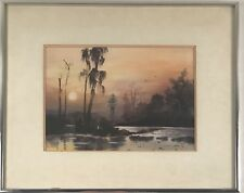 Stunning tonalist river landscape watercolor.  Signed by Asian artist Hatsuko??