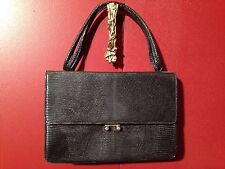 VINTAGE ROSENFELD SKIN BLACK GENUINE LIZARD LADIES HANDBAG PURSE